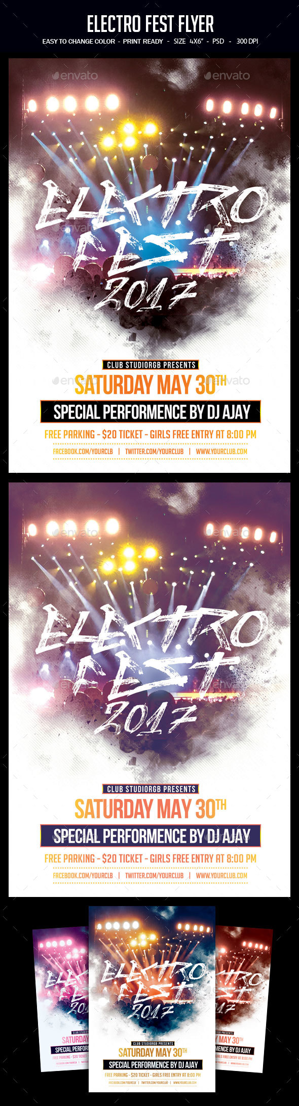 Electro Fest Flyer - Clubs & Parties Events