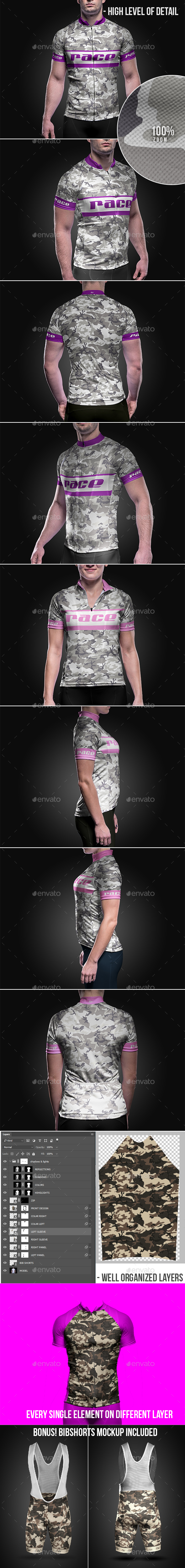 Cycling Wear Mega Mockup Collection - T-shirts Apparel