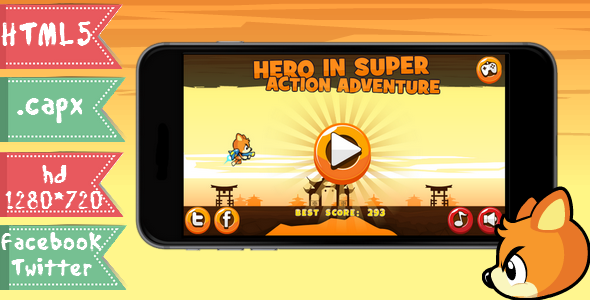 Hero in super action adventure-html5,capx,twitter, facebook - CodeCanyon Item for Sale