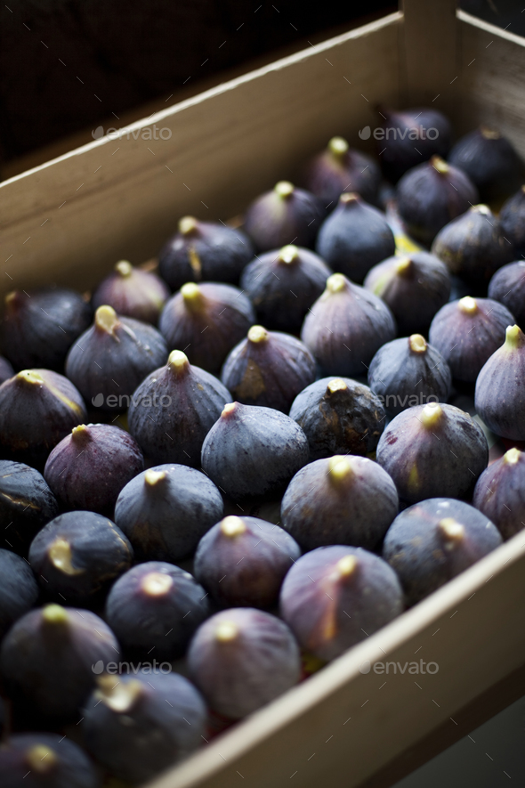 Figs in a crate - Stock Photo - Images