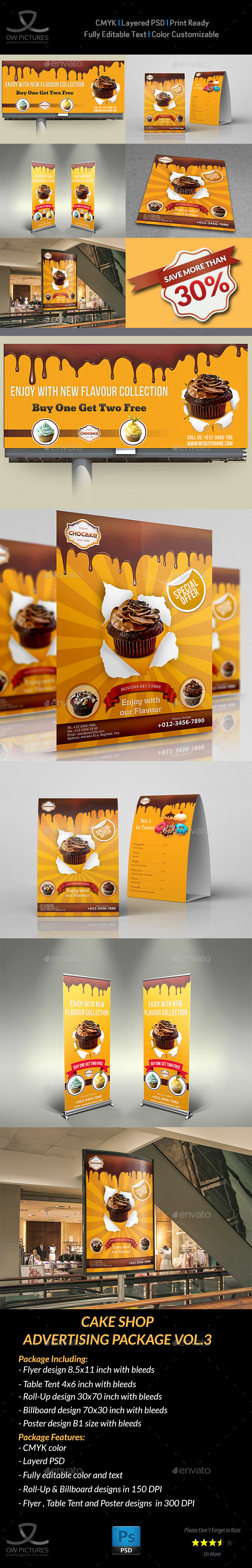 Cake and Cafe Advertising Bundle Vol3 - Signage Print Templates