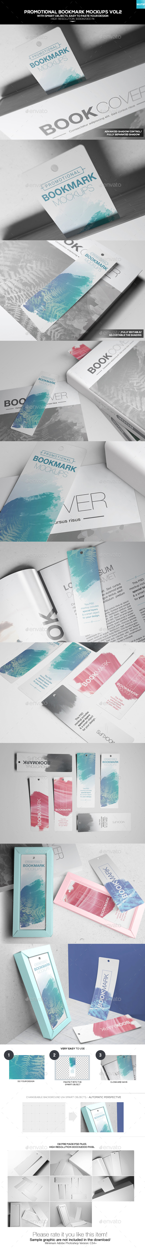 Promotional Bookmark Mockups Vol2 - Books Print
