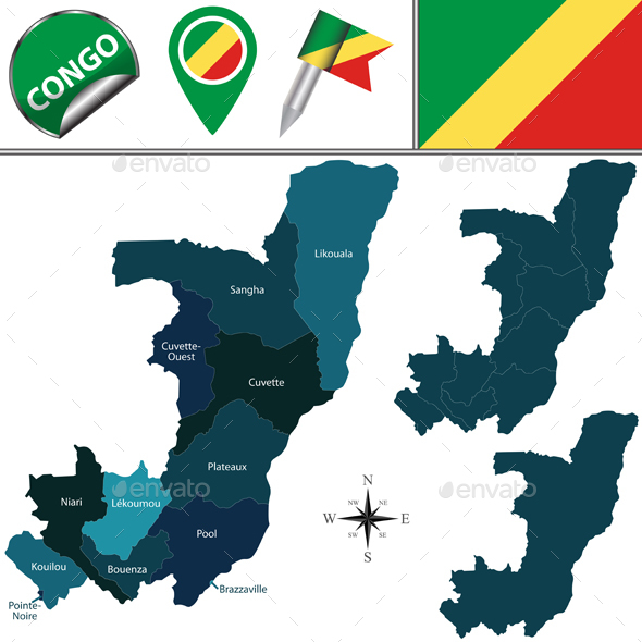 Map of Congo with Named Departments - Travel Conceptual