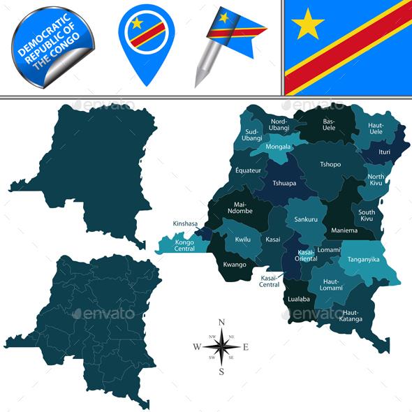 Map of Democratic Republic of the Congo - Travel Conceptual