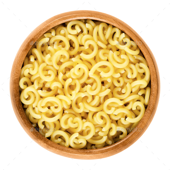 Gobbetti pasta in wooden bowl - Stock Photo - Images