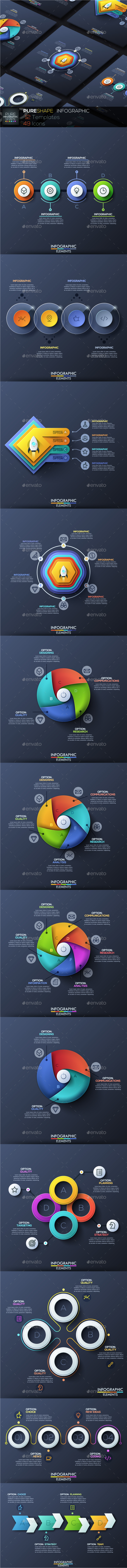 Pure Shape Infographic. Set 5 - Infographics