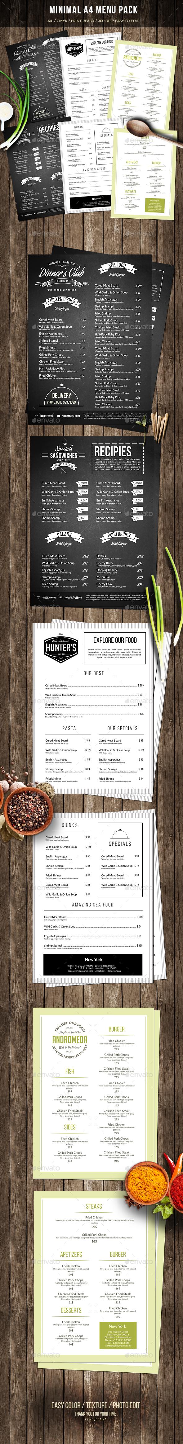 Minimal A4 Menu Pack - Food Menus Print Templates