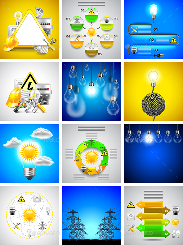 Electricity and Energy Tools Backgrounds and Infographics - Technology Conceptual