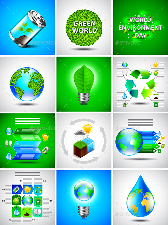 Environment and Saving Nature Backgrounds and Infographics - Nature Conceptual