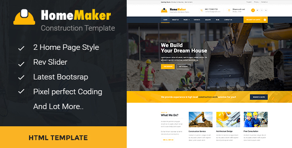 HomeMaker – Construction & Builder HTML Template