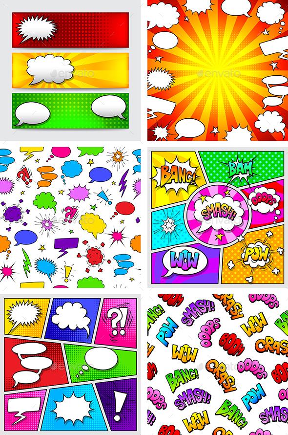 Comics Speech Bubbles Backgrounds - Miscellaneous Vectors