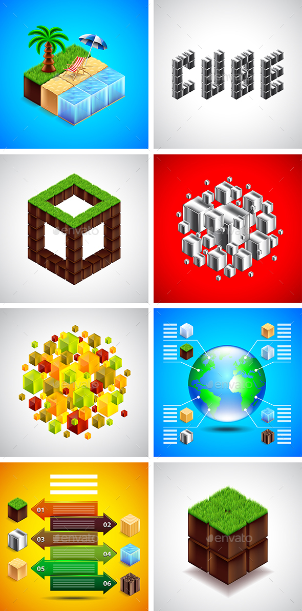 Isometric Cubes Backgrounds and Infographics - Backgrounds Decorative