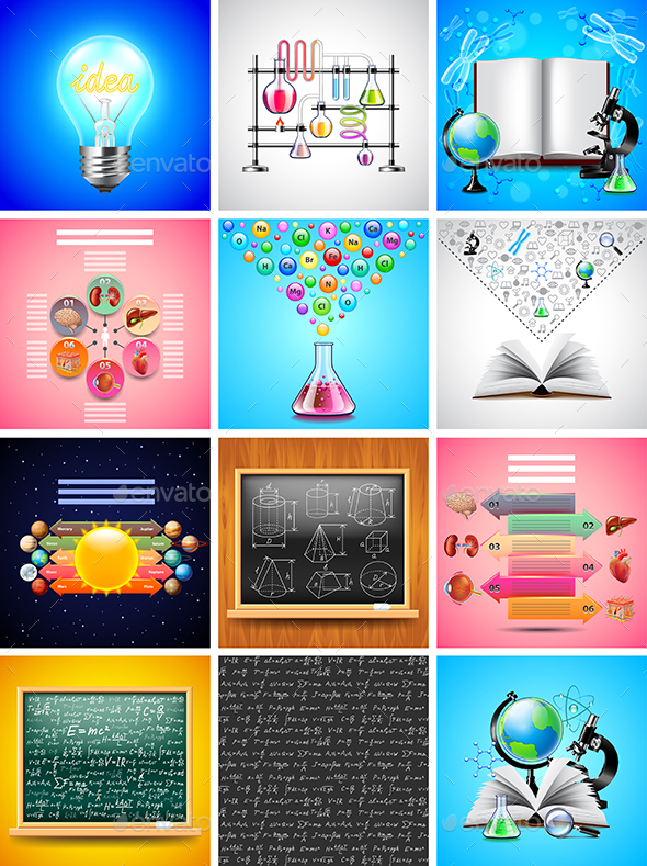 Science and Tools Backgrounds and Infographics - Conceptual Vectors