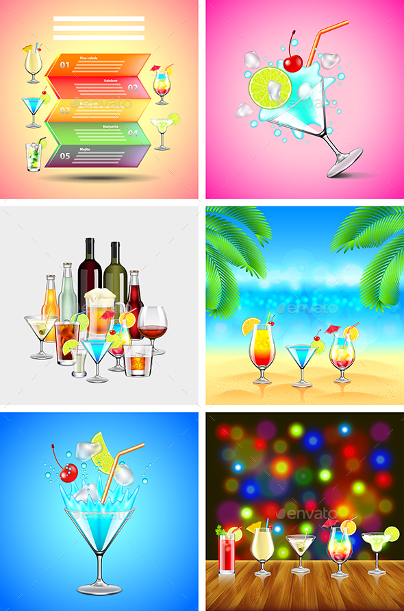 Alcoholic Cocktails Backgrounds and Infographics - Food Objects