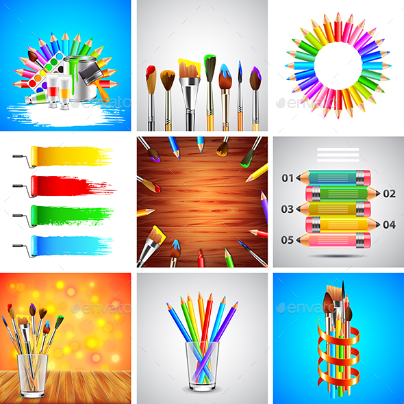 Painting and Art Tools Backgrounds - Backgrounds Decorative