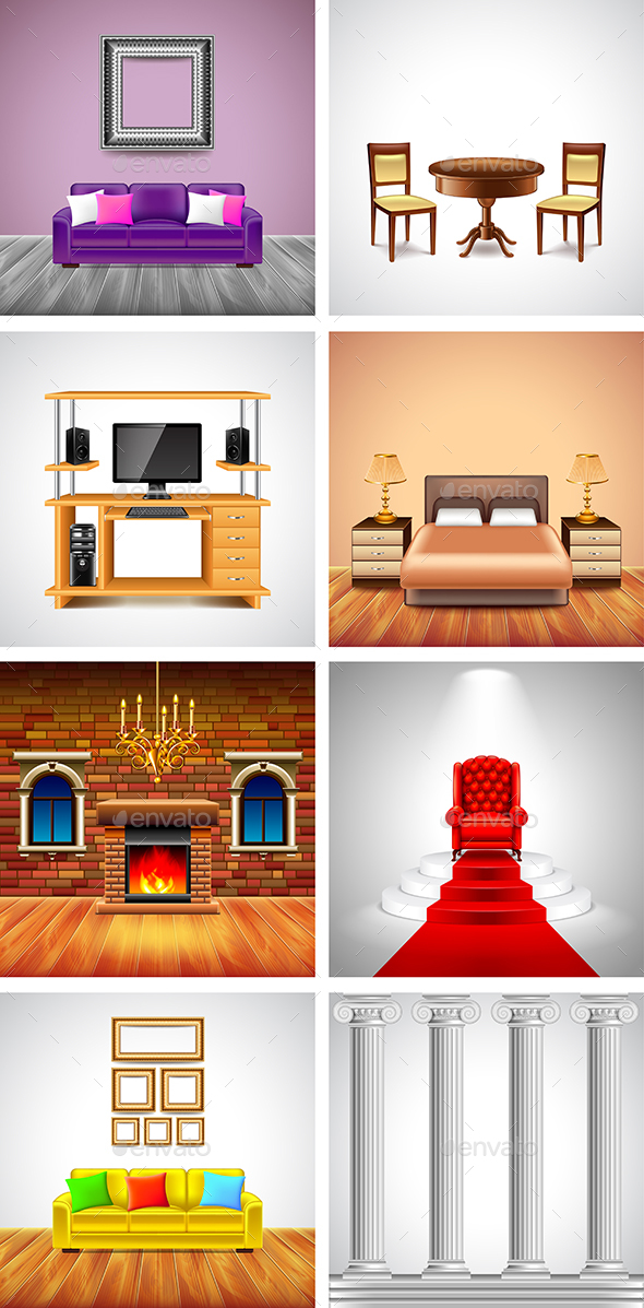 Interiors and Furniture Backgrounds - Miscellaneous Vectors