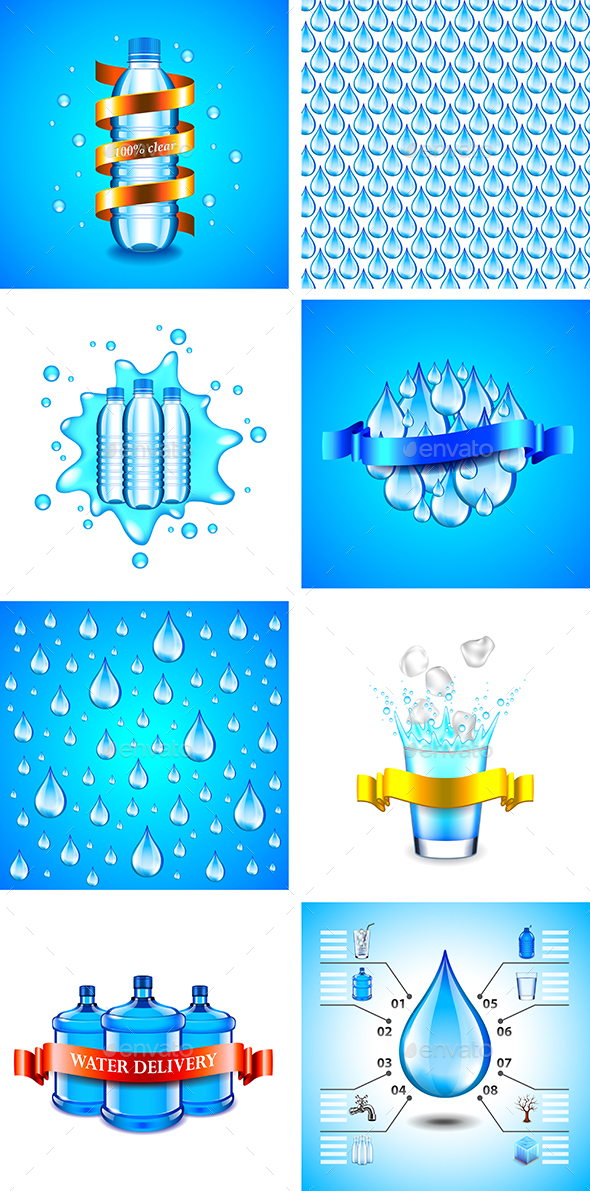 Drinking Water Backgrounds and Infographics - Food Objects