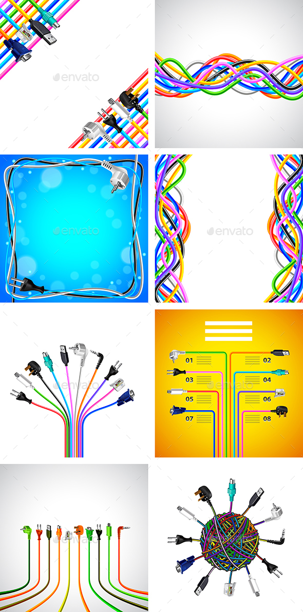 Plug Wire Cables Backgrounds and Infographics - Communications Technology
