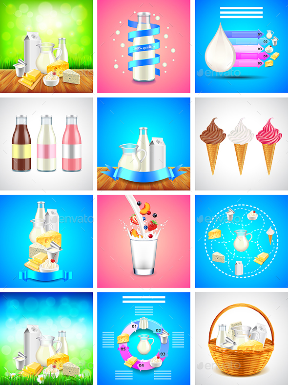 Dairy Products Backgrounds and Infographics - Food Objects