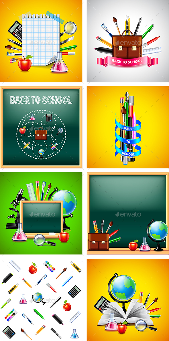 School and Education Tools Backgrounds - Miscellaneous Vectors