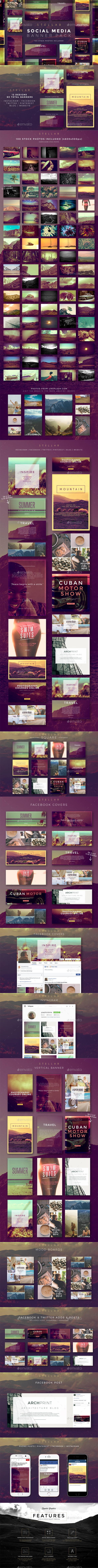 Stellar Social Media Banner Pack - Social Media Web Elements