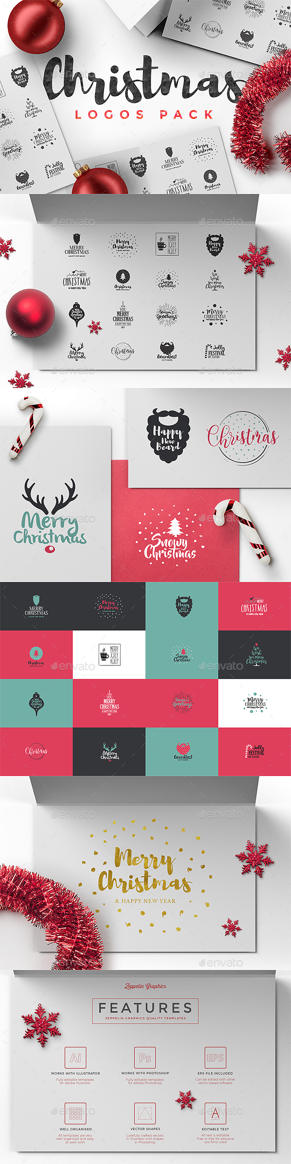 Christmas Logos Pack - Badges & Stickers Web Elements