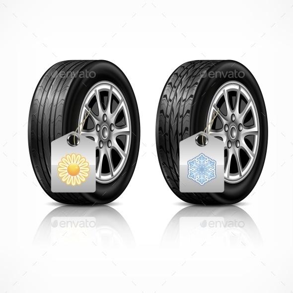 SeasOn Rubber Wheels On White - Vectors