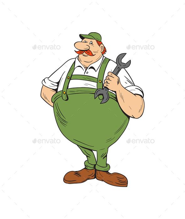 German Repairman Spanner Standing Cartoon - People Characters