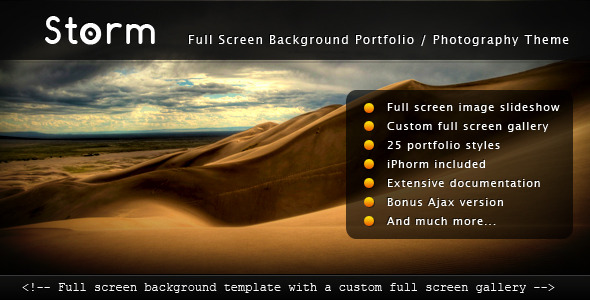Storm - Full Screen Background Template - Photography Creative
