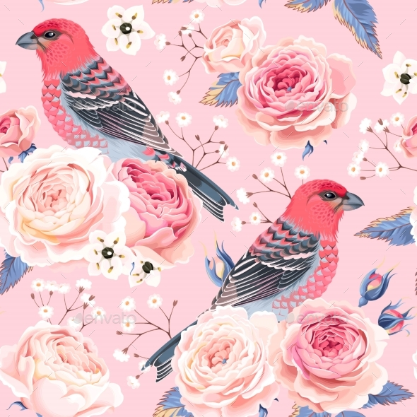 English Roses And Birds Seamless - Flowers & Plants Nature