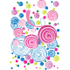colorful floral doodles in light pink and blue - GraphicRiver Item for Sale