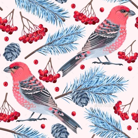 Seamless Birds And Spruce - Christmas Seasons/Holidays