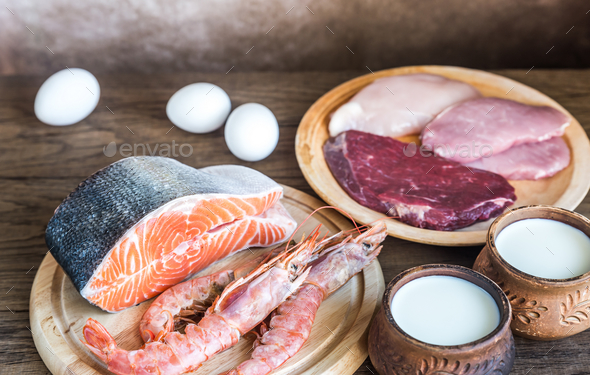 Protein diet: raw products on the wooden background - Stock Photo - Images