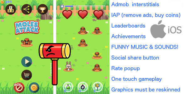 Whack a mole iOS +Ads +In App Purchase +20 LEVELS - CodeCanyon Item for Sale