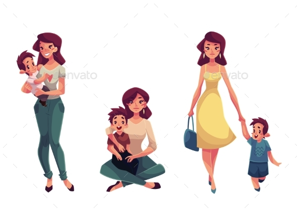 Happy Mother Holding, Hugging And Walking - People Characters