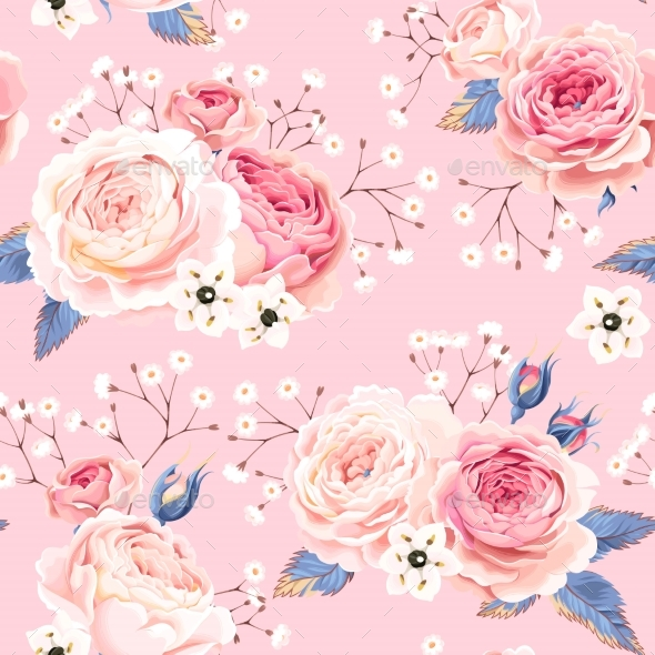 English Roses Seamless - Patterns Decorative