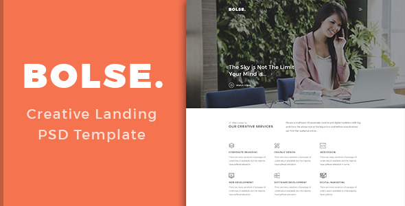 Bolse - Landing Page PSD Template