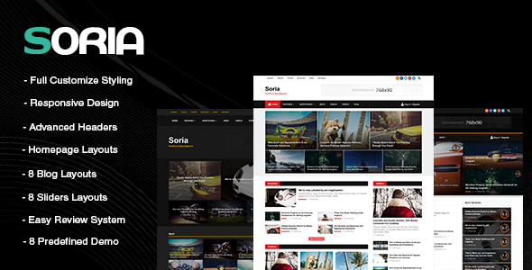 Soria - Responsive WordPress Blog Magazine Template - News / Editorial Blog / Magazine