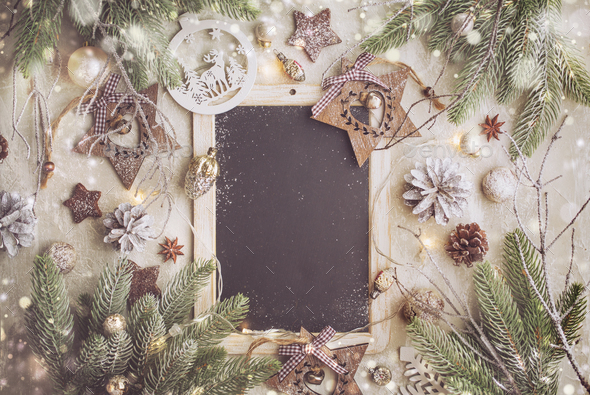 Christmas Background with Festive Decoration and Black Chalk Board - Stock Photo - Images