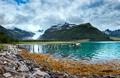 Glacier on the viewing platform. Svartisen Glacier in Norway. - PhotoDune Item for Sale