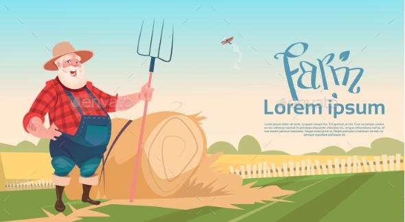 Farmer Working on Farm Holding Pitchfork Hay Harvest - Landscapes Nature