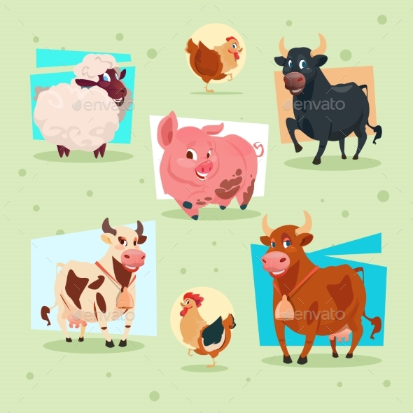 Domestic Animals Icon Farm Breeding - Animals Characters