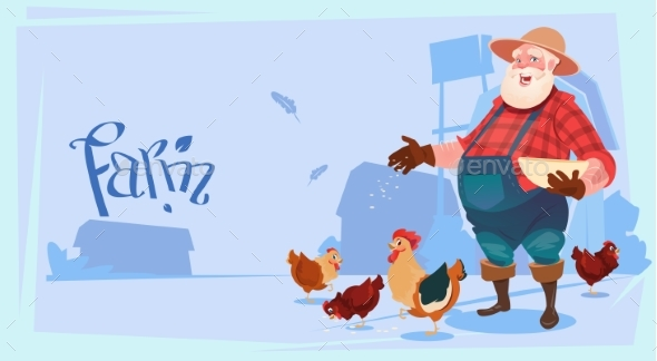 Farmer Feed Chicken Breeding Hen for Food Farm - Food Objects