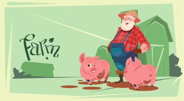 Farmer Feeding Pig for Butcher Animal Farm - Food Objects