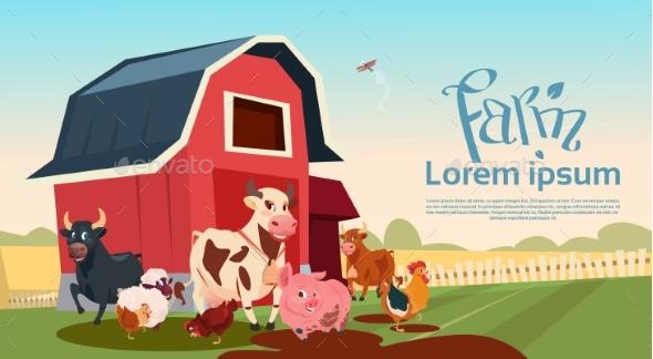 Farm Breeding Animals Farmland Background - Animals Characters