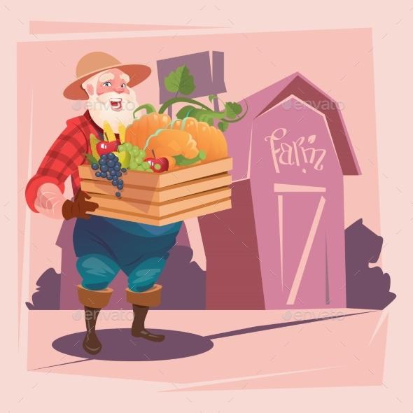 Farmer Holding Box with Vegetables Farmland - Food Objects