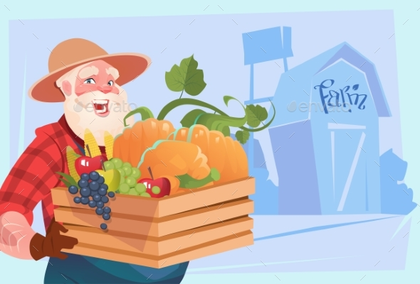 Farmer Holding Box with Vegetables Farmland - Food Objects