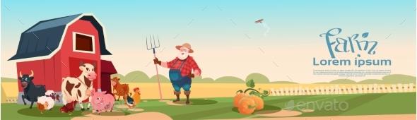 Farmer Breeding Animals Farmland Background - Animals Characters