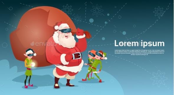 Santa Clause and Green Elves Wear Digital Glasses - Christmas Seasons/Holidays
