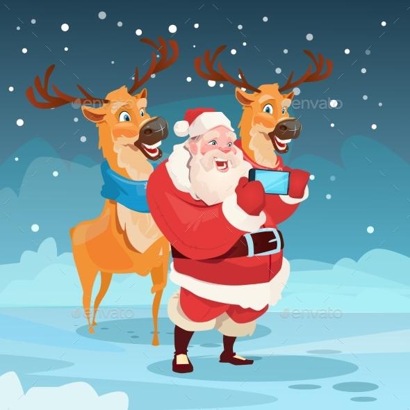 Santa Claus with Reindeer Making Selfie Photo - Christmas Seasons/Holidays